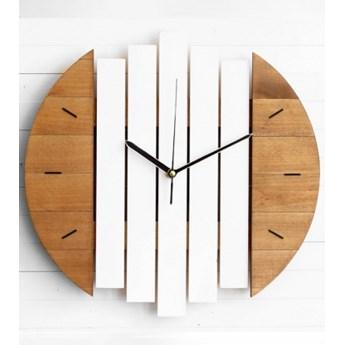 Zegar ścienny Drewniany Okrągły Brązowo-biały