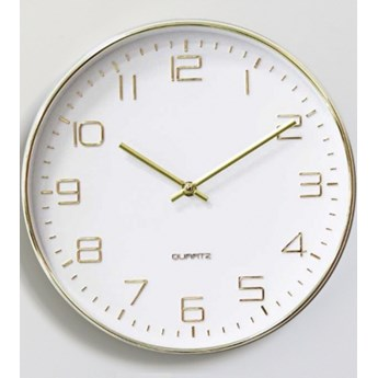Zegar ścienny Nowoczesny Okrągły Biały, Złote Wskazówki