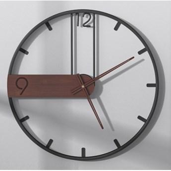 Zegar ścienny Metalowy Czarno-brązowy Duży Okrągły Loft