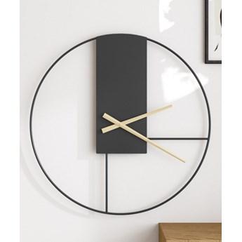 Zegar ścienny Metalowy Czarno-złoty Duży Okrągły Loft