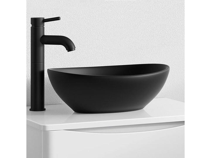VELDMAN UMYWALKA CZARNA VERA BLACK Nablatowe Szerokość 41 cm Ceramika Owalne Meblowe Kolor Czarny
