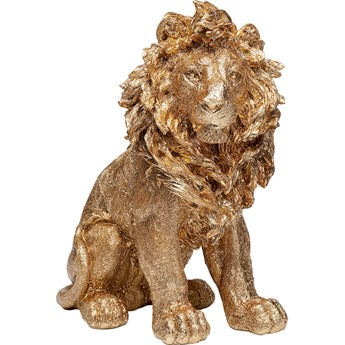 Figurka dekoracyjna Sitting Lion 34x42 cm złota
