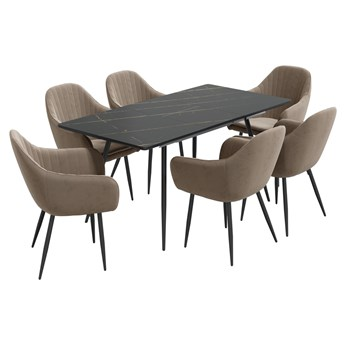 SELSEY Stół rozkładany Violarma 120-160x80 cm czarny marmur z sześcioma krzesłami tapicerowanymi Wersos beżowymi