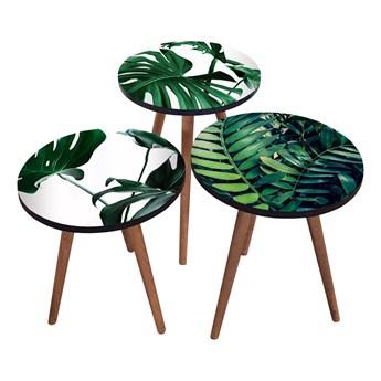 SELSEY Zestaw stolików kawowych Sehap z motywem liści okrągły