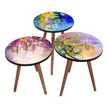 SELSEY Zestaw stolików kawowych Sehap z motywem kolorowych roślin okrągły