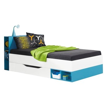 Łóżko Mobi - Kolor: Biały Lux/Turkus 94x80x224