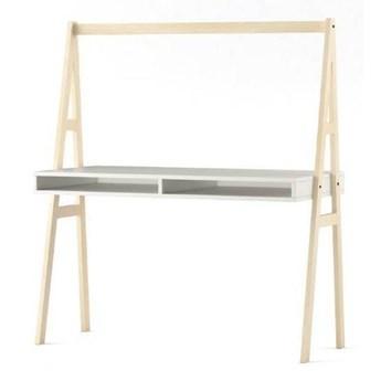 Biurko Magi - 130x60 cm - Kolor: Biały Matowy/Brzozowy
