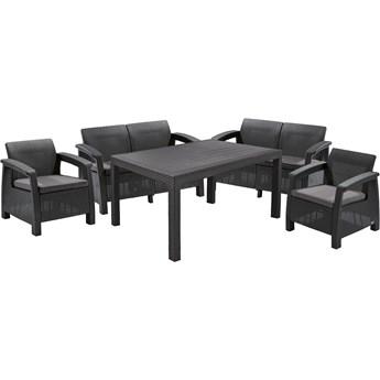Duży zestaw mebli wypoczynkowych do ogrodu z sofami, fotelami i stołem Sicilia