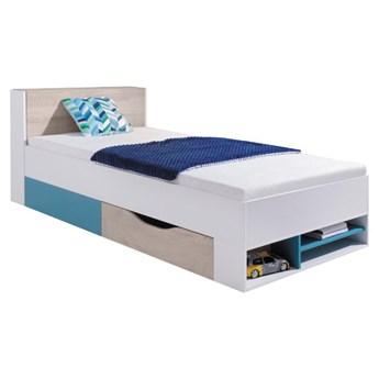 Łóżko Planet - Kolor: Biały Lux/Dąb/Morski 94x77x224