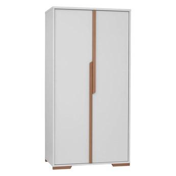 Szafa Snap - Kolor: Biały/Naturalne Drewno Bukowe 98.5x195x56