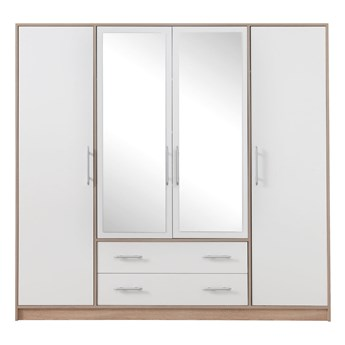 Szafa Smart z lustrem - Kolor: Dąb Sonoma/Biały 200x190x56
