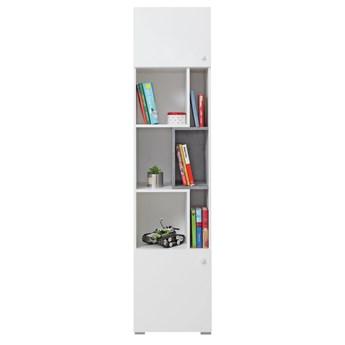 Regał Sigma - Kolor: Biały Lux/Beton 45x190x40