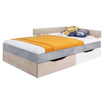 Łóżko Sigma 120 - Kolor: Beton/Biały Lux/Dąb