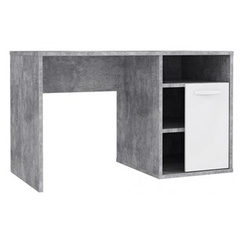Biurko Canmore - 120x60 cm - Kolor: Beton Jasnoszary/Biały Połysk