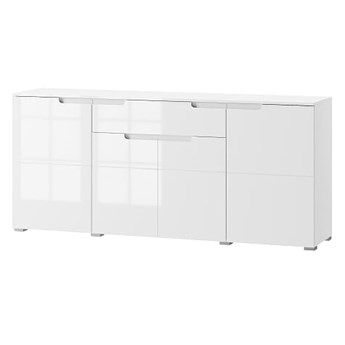 Komoda Selene - Kolor: Biały/Biały Połysk 180x80x40
