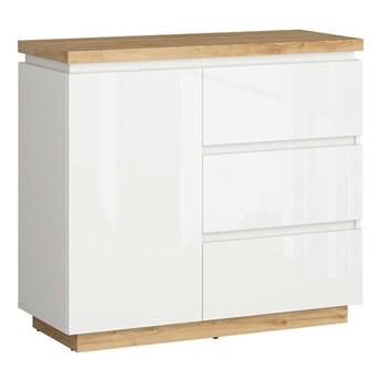 Komoda Erla - Kolor: Biały/Dąb Minerva/Biały Połysk 98x88.5x41