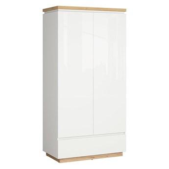 Szafa Erla - Kolor: Biały/Dąb Minerva/Biały Połysk 98x196x53