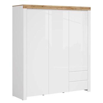 Szafa Holten - Kolor: Biały/Dąb Wotan/Biały Połysk 180.5x203.5x56.5