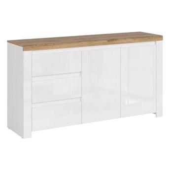 Komoda Vigo - Kolor: Biały/Biały Połysk/Dąb Wotan 156x84.5x41.5