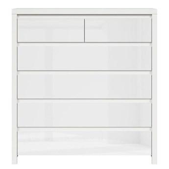 Komoda Kaspian - Kolor: Biały/Biały Połysk 104.5x112x40.5
