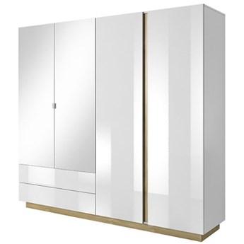 Szafa Arco - Kolor: Biały Matowy/Biały Połysk/Dąb Grandson 220x202.4x54
