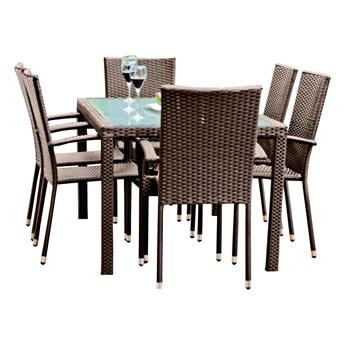 Zestaw mebli stołowych do ogrodu z 6 krzesłami Lukka