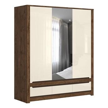 Pojemna szafa do sypialni z szufladami i drzwiami z lustrem Ruso 178.5x204.5x60.5