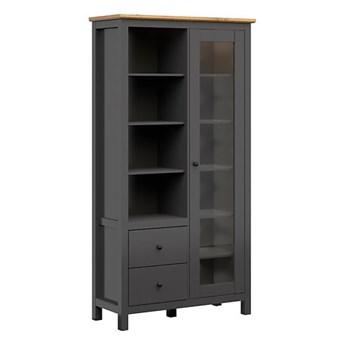 Pojemna witryna z drzwiami i szufladami do salonu Hesen 106x203x44
