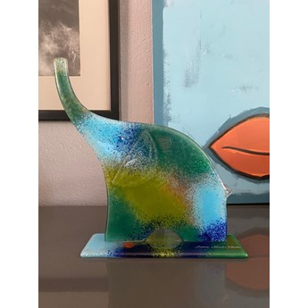 """ozdoba szklana Słoń zielono-niebieski z serii """"Happy Elephants""""duży"""