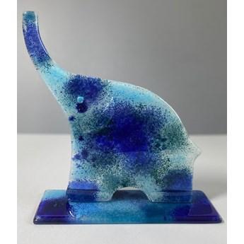 Rzeźba szklana z serii Happy Elephant Szczęśliwy Słoń