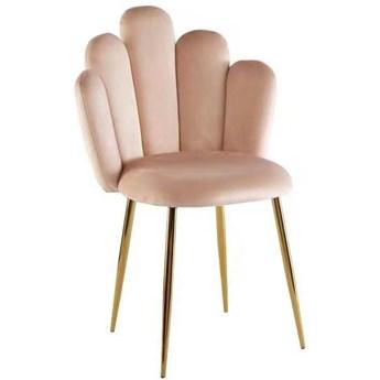 Krzesło muszelka beżowe DC-1800 Złote nogi, Welur, Glamour