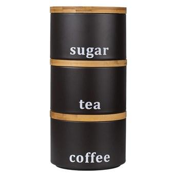 Zestaw 3 pojemników do przechowywania: kawa, herbata, cukier H73942