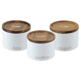 Zestaw 3 pojemników do przechowywania: kawa, herbata, cukier H73948