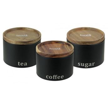 Zestaw 3 pojemników do przechowywania: kawa, herbata, cukier H73949