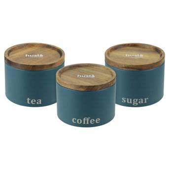 Zestaw 3 pojemników do przechowywania: kawa, herbata, cukier H73950