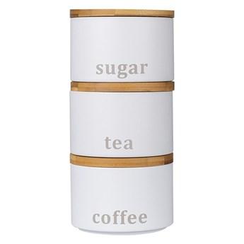 Zestaw 3 pojemników do przechowywania: kawa, herbata, cukier H73941