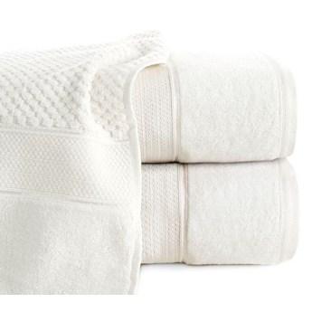 Puszysty ręcznik z fakturą wytłaczanej krateczki i welurową bordiurą o gramaturze 500 g/m2, 70x140 cm