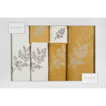 Komplet ręczników z haftowanymi gałązkami o gramaturze 380 gsm g/m2