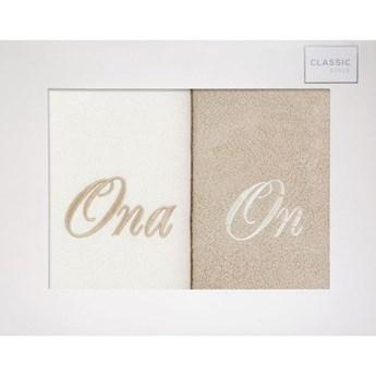 Komplet ręczników zestaw upominkowy - ONA i ON  o gramaturze 400 gsm g/m2, 2 x 50x90 cm