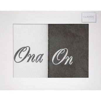 Komplet ręczników zestaw upominkowy - ONA i ON  o gramaturze 400 gsm g/m2, 2 x 70x140 cm