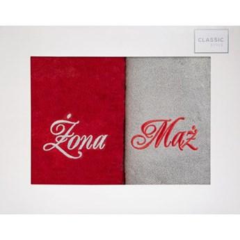 Komplet ręczników zestaw upominkowy - ŻONA i MĄŻ o gramaturze 400 gsm g/m2, 2 x 70x140 cm