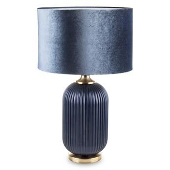 Lampa stołowa granatowa AURORA z aksamitnym abażurem wysoka
