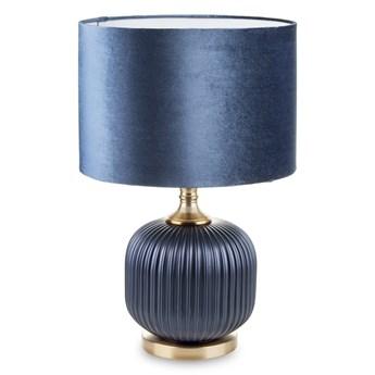 Lampa stołowa granatowa AURORA z aksamitnym abażurem niska