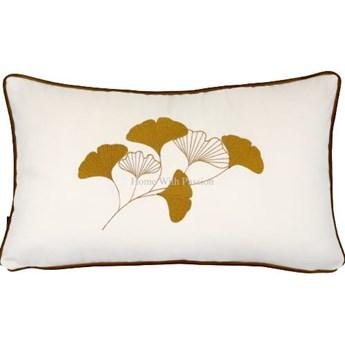 Poduszka dekoracyjna PIANO WHITE z liśćmi miłorzębu 30x50 cm