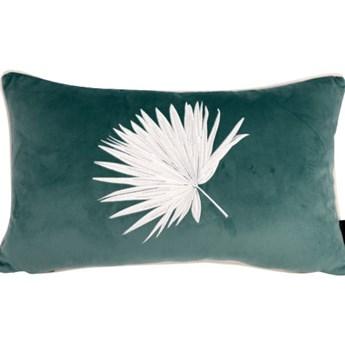 Poduszka dekoracyjna z haftem liścia miętowa 30x50 cm