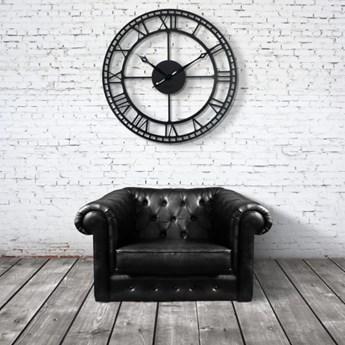 Duży metalowy zegar ścienny czarny 80cm