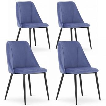 Komplet 4x krzesło do salonu jadalni nowoczesne kubełkowe glamour Velvet aksamit welur LATINA granatowe Leobert
