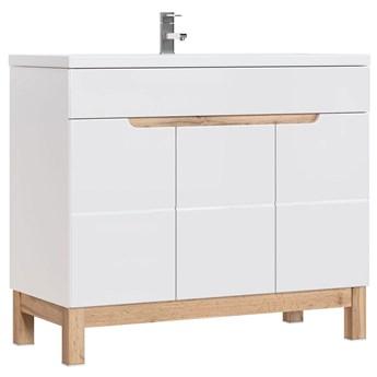 Szafka łazienkowa z umywalką Marsylia 6S 100 cm - Biały połysk