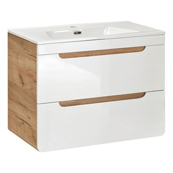 Szafka z umywalką Borneo 5S z szufladami 80 cm - Biały połysk