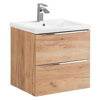 Podwieszana szafka łazienkowa z umywalką - Malta 3S Dąb 60 cm